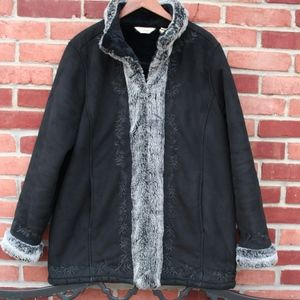 LL Bean Black & Gray Faux Suede & faux fur coat